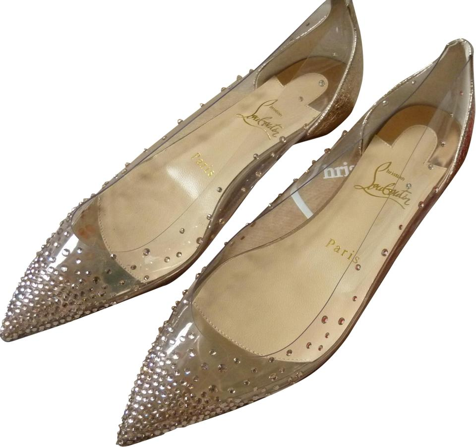 d3663468f98 Christian Louboutin Nude Rose Gold  degrastrass  Vinyl and Crystal Skimmers  Flats