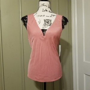JustFab Top Pink and black lace