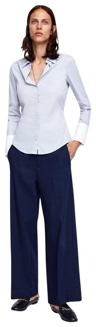 Item - White/Gray New Fitted Poplin Classic Shirt with Contrasting Cuffs Button-down Top Size 8 (M)