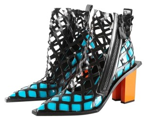 MARQUES'ALMEIDA Cage Caged Diamond Pointed Toe Woven Black Turquoise Orange Boots