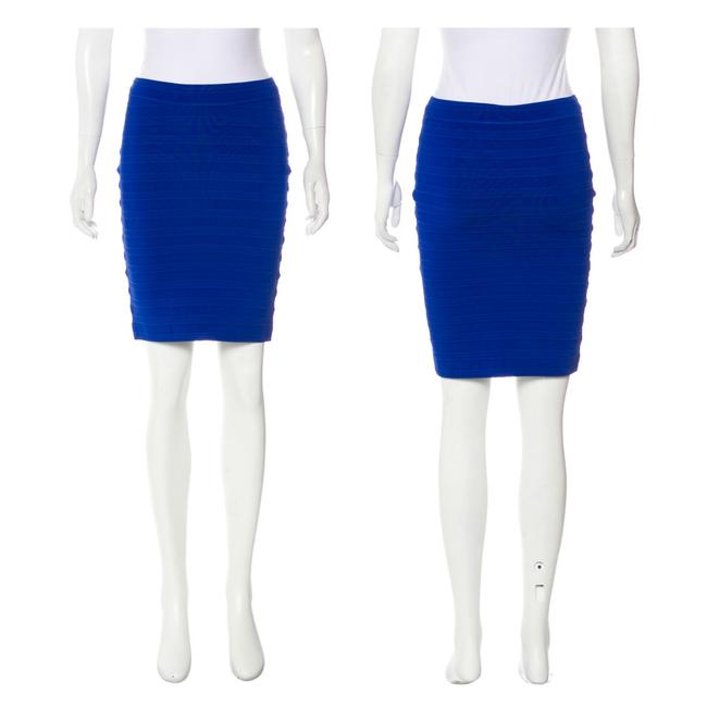 Yigal Azrouël Knit Fitted Bandage Cobalt Rayon Daphne Browell Skirt Blue Image 1