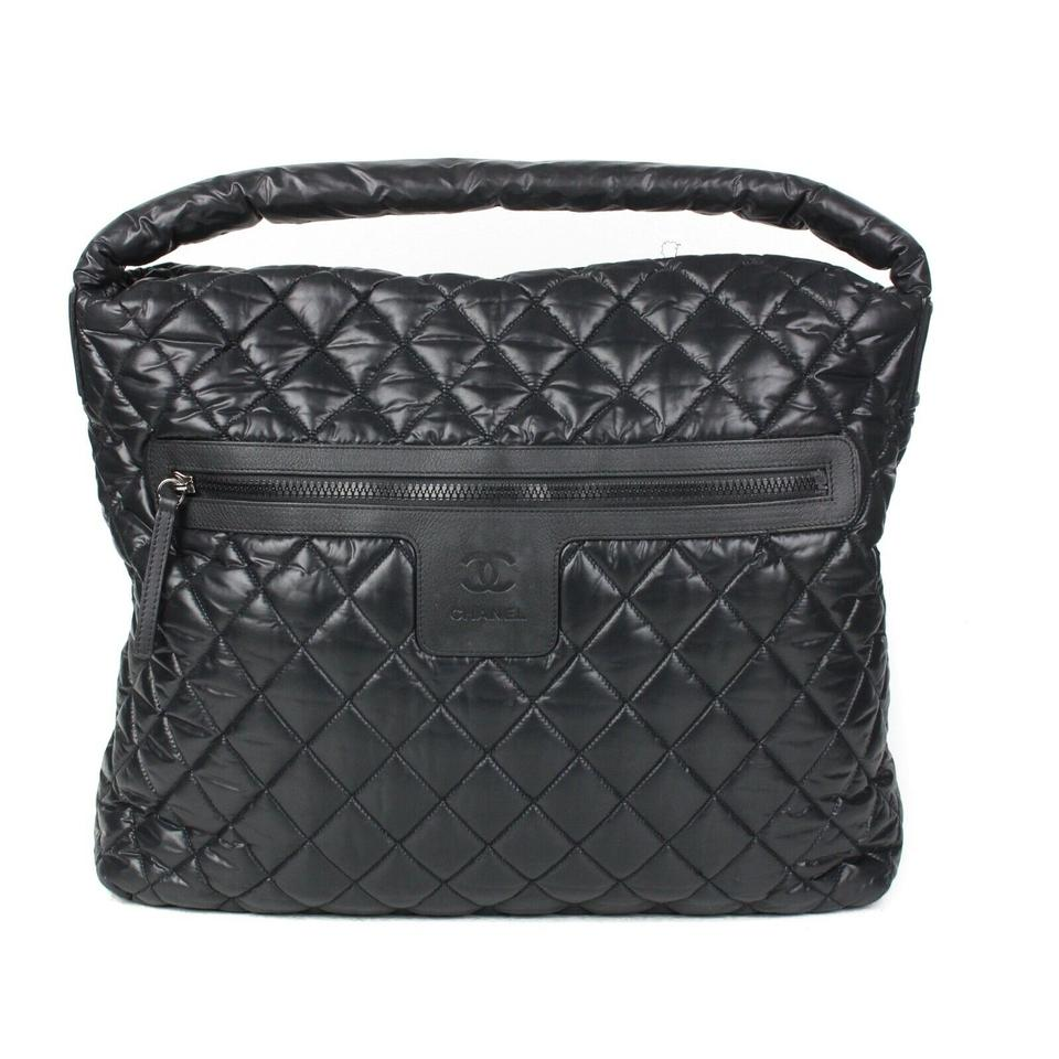 c065645702ebf6 Chanel Cocoon XL Large Coco Quilted Cc Black Nylon Shoulder Bag ...