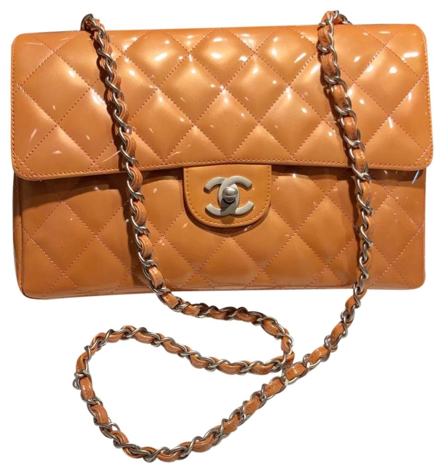 e09a7338c713 Chanel Classic Flap Single Quilted Bright Metallic Sheen Peach Pink ...