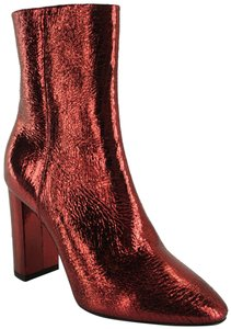 33535687 Saint Laurent Red Crinkle Metallic Patent Leather Babies Block Heel Ankle  Boots/Booties Size EU 36.5 (Approx. US 6.5) Regular (M, B) 54% off retail