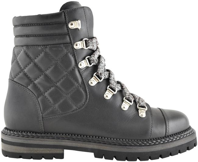 Item - Grey 18a Quilted Calfskin Leather Cc Lace Up Short Biker Combat Boots/Booties Size EU 36 (Approx. US 6) Regular (M, B)