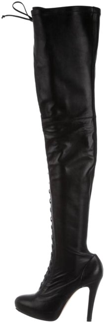 Item - Black Leather Lace-up Thigh-high Platform Boots/Booties Size US 9 Regular (M, B)