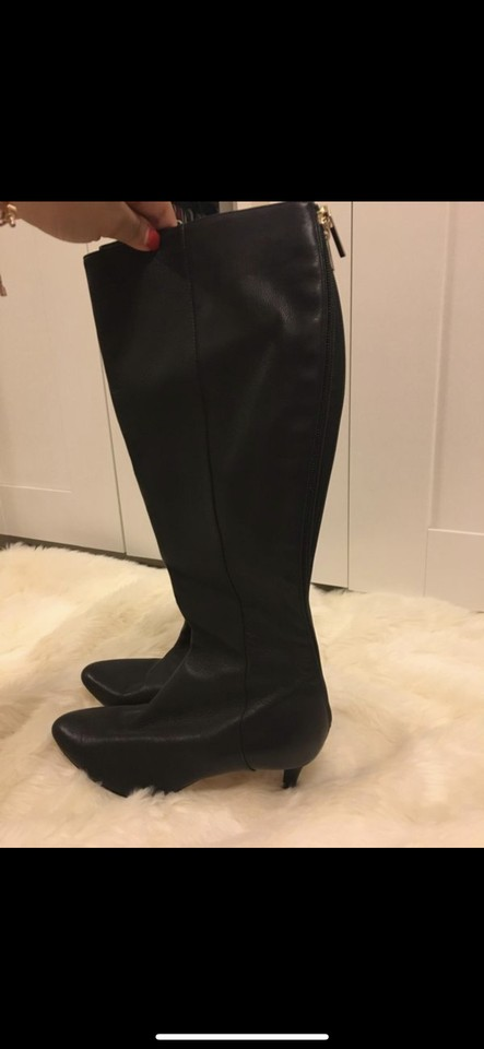 626006a5c029 Jimmy Choo Black  grand  Grainy Calf Leather Knee High Boots Booties ...