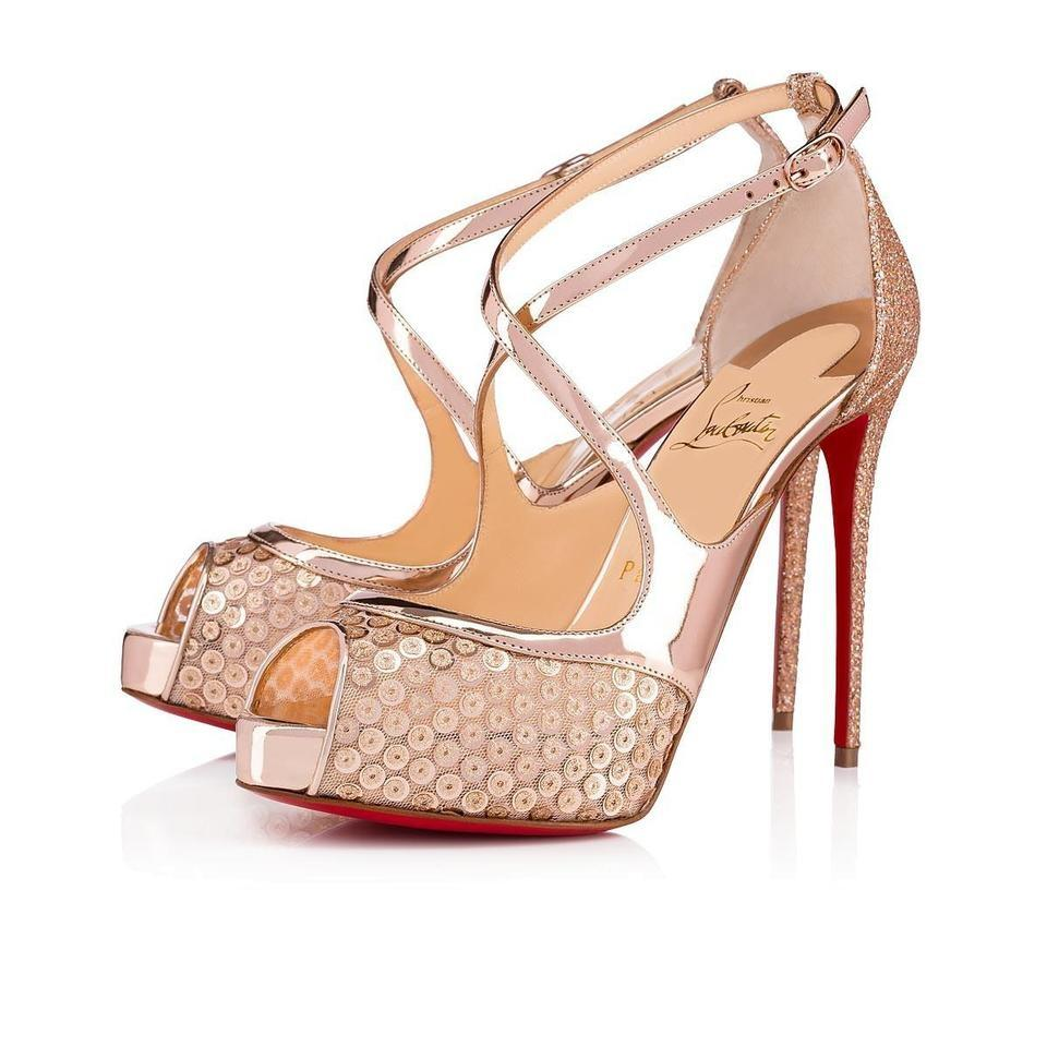 4e1bee9ca104 Christian Louboutin Gold Nude Paillettes Sequin Mira Bella 120mm Peep B364  Pumps