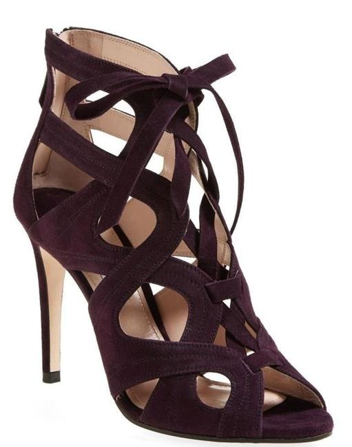 Item - Purple Brown Suede Lace Up Cut Out Strappy Cages Sandals Size EU 37.5 (Approx. US 7.5) Regular (M, B)