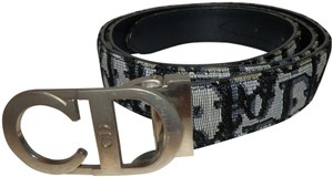 Dior Christian Dior Trotter Navy Blue Canvas/Leather Belt