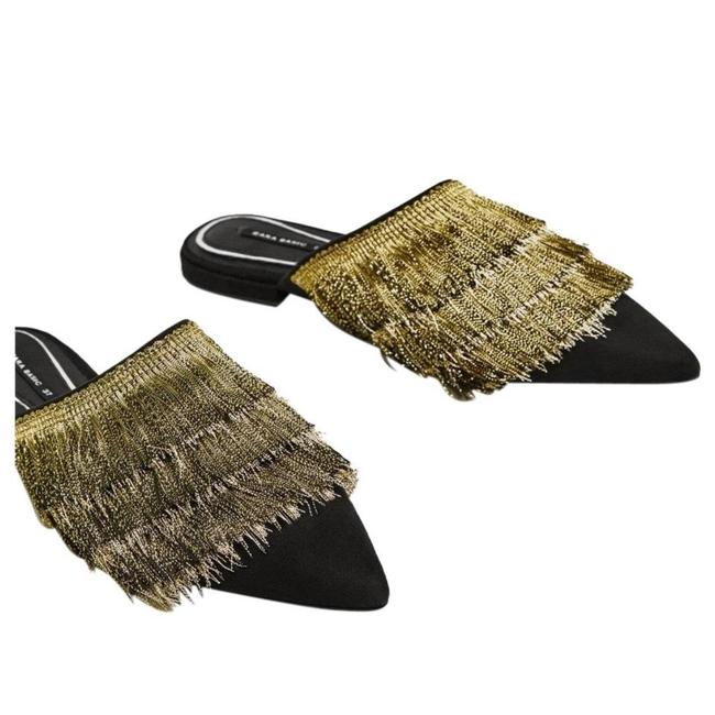 Item - Black Gold New Flat with Fringe Mules/Slides Size US 7.5 Regular (M, B)