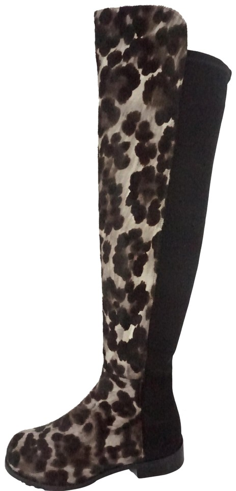 597a7f45e804 Stuart Weitzman Black Grey Spotted Leopard Calf Hair 5050 Over The Knee  Tall Boots/Booties