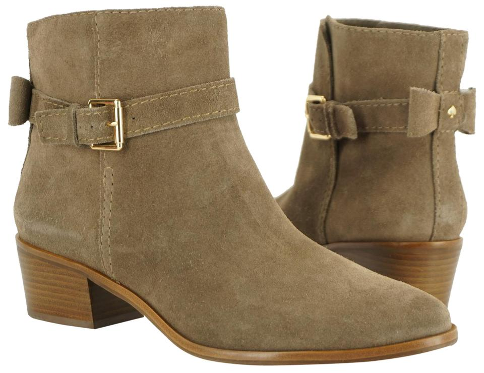 aaed487abf5 Kate Spade Beige Taupe Suede Taley Slouchy Bow Back Block Heel Ankle ...