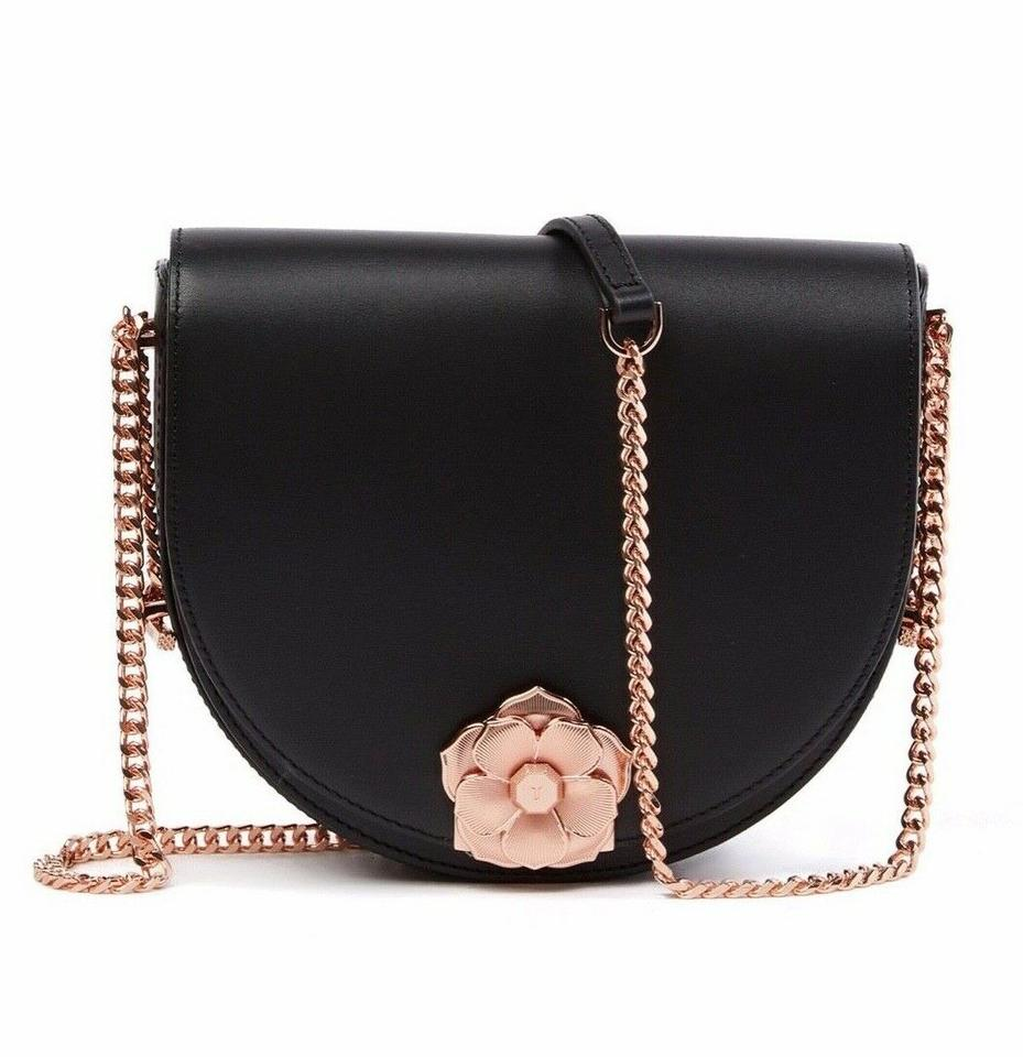 38d80b8b4 Ted Baker Roslyn Flower Clasp Black Leather Cross Body Bag - Tradesy