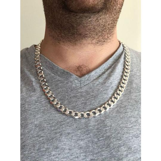 Harlembling Men's Shiny Miami Cuban Link 11mm HEAVY Solid 925 Silver Chain 100-150 Image 5