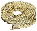 Harlembling Mens Cuban Miami Link 12mm Chain 14k Gold & Solid 925 Silver Lab Diamo