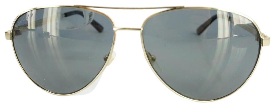 ac81406e50e Gucci Gold Gunmetal Flash Aviator 0237 S New Sunglasses - Tradesy