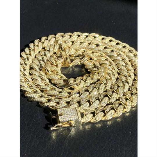 Harlembling Mens Miami Cuban Link Chain 14k Yellow Gold Over Solid 925 Silver Diam Image 1