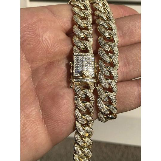 Harlembling Mens Miami Cuban Link Chain 14k Yellow Gold Over Solid 925 Silver Diam Image 2