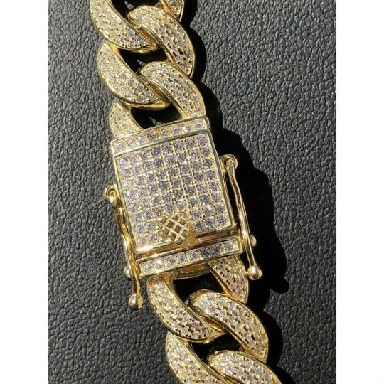 Harlembling Mens Miami Cuban Link Chain 14k Yellow Gold Over Solid 925 Silver Diam Image 3