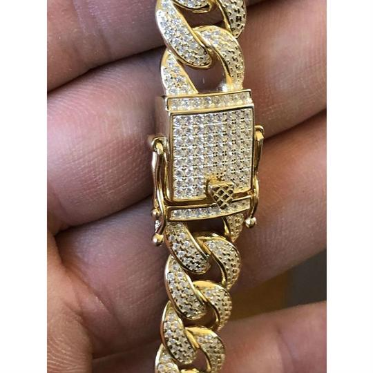 Harlembling Mens Miami Cuban Link Chain 14k Yellow Gold Over Solid 925 Silver Diam Image 4