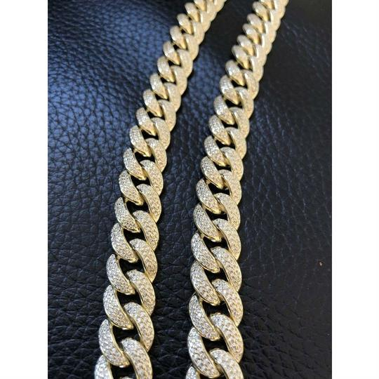 Harlembling Mens Miami Cuban Link Chain 14k Yellow Gold Over Solid 925 Silver Diam Image 5