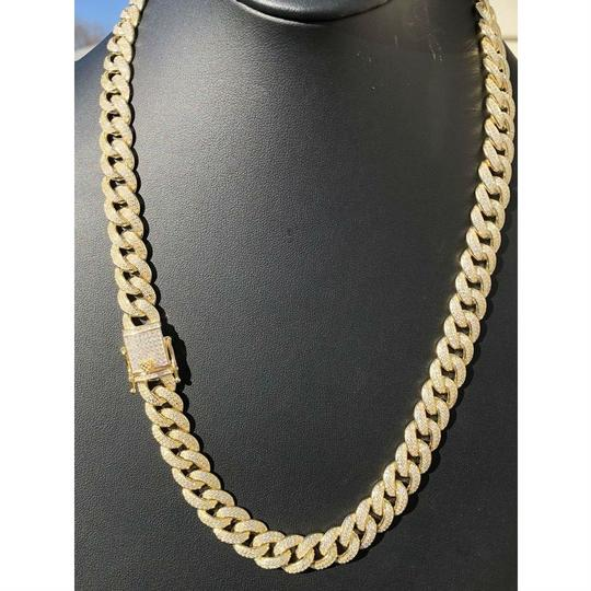 Harlembling Mens Miami Cuban Link Chain 14k Yellow Gold Over Solid 925 Silver Diam Image 6