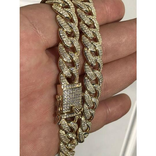 Harlembling Mens Miami Cuban Link Chain 14k Yellow Gold Over Solid 925 Silver Diam Image 7