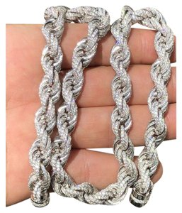Harlembling Solid 925 Sterling Silver Men's Rope Chain 18