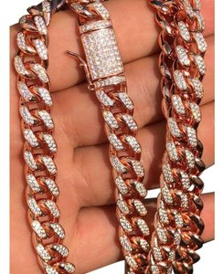 Harlembling 14k Rose Gold Over Solid 925 Silver Men's Miami Cuban Link Chain 10mm