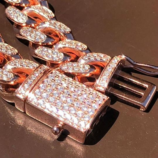 Harlembling 14k Rose Gold Over Solid 925 Silver Men's Miami Cuban Link Chain 10mm Image 1