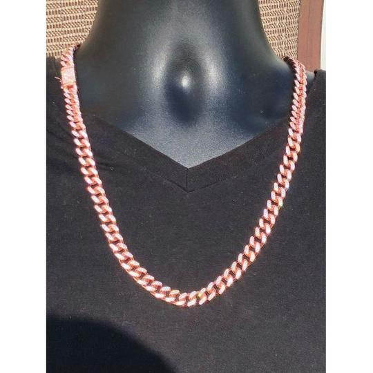 Harlembling 14k Rose Gold Over Solid 925 Silver Men's Miami Cuban Link Chain 10mm Image 4