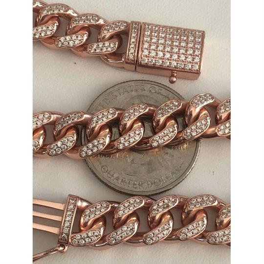 Harlembling 14k Rose Gold Over Solid 925 Silver Men's Miami Cuban Link Chain 10mm Image 5