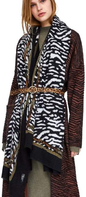 Item - Black White Gold Animal Print and Chain Print Blanket Scarf/Wrap