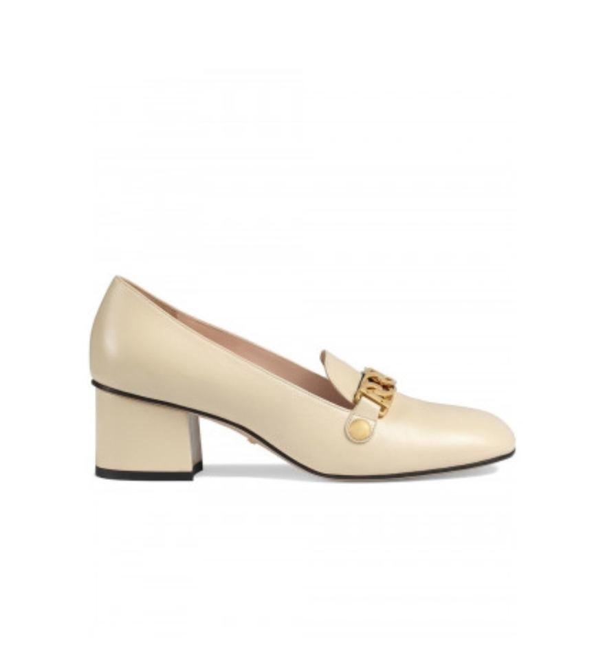 db0870d9596 Gucci White Sylvie New Leather Mid-heel 6.5 Pumps Size EU 36.5 ...