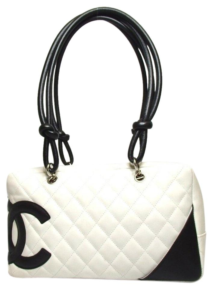 b1899edad85e3e Chanel Cambon Cc Double Bowling Handbag White Lambskin Leather ...