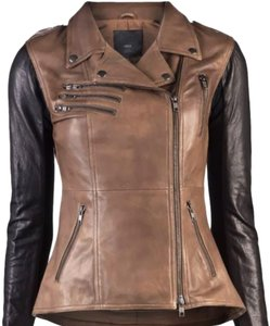 VEDA black, brown Leather Jacket
