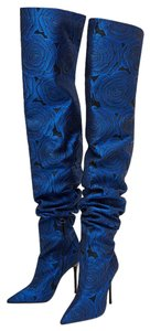 Zara Over The Knee Floral High Heel Tall Blue Boots