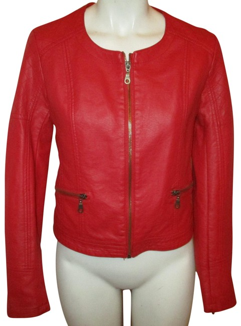 Item - Red Faux Leather Moto Jacket Size 4 (S)