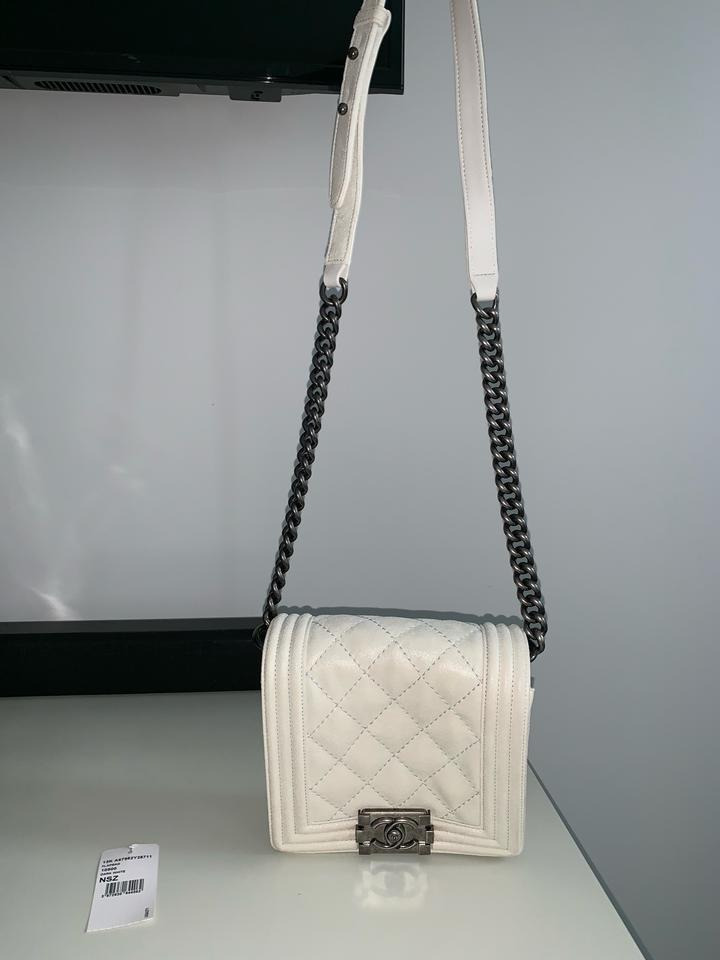 cd76570c6d7b97 Chanel Boy Small Quilted Cream Calfskin Leather Cross Body Bag - Tradesy