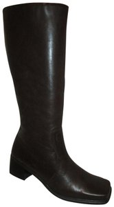 Caressa Leather Tall Chunky Heel 001 brown Boots