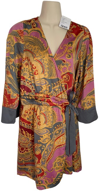 Item - Gold Grey Maroon Pink New Robe Or Wrap Short Casual Dress Size 12 (L)