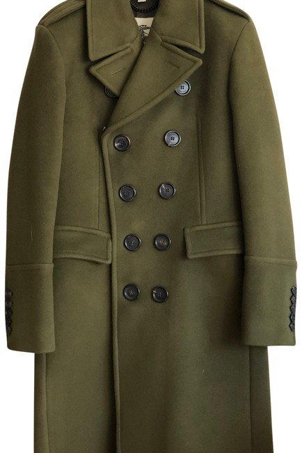 Item - Olive Green Wool Cashmere Topcoat with Detachable Collar Coat Size 4 (S)