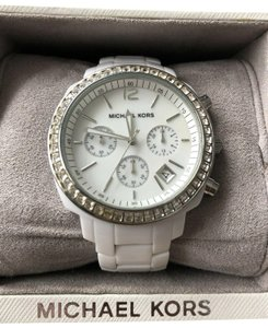 0aa596b78 Michael Kors MK5188 Runway Crystal Glitz White Ceramic Ladies Womens Large  Watch