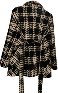 Via Spiga Belted Pockets Checkered Houndstooth Pea Coat
