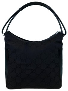 Gucci Nylon Shoulder Monogram Hobo Bag