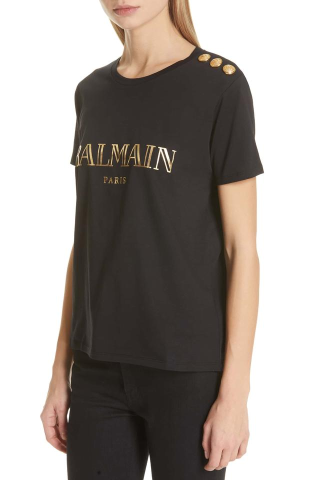 a465a80a Balmain Black Metallic Gold Paris Logo Military Tee Shirt Size 10 (M ...