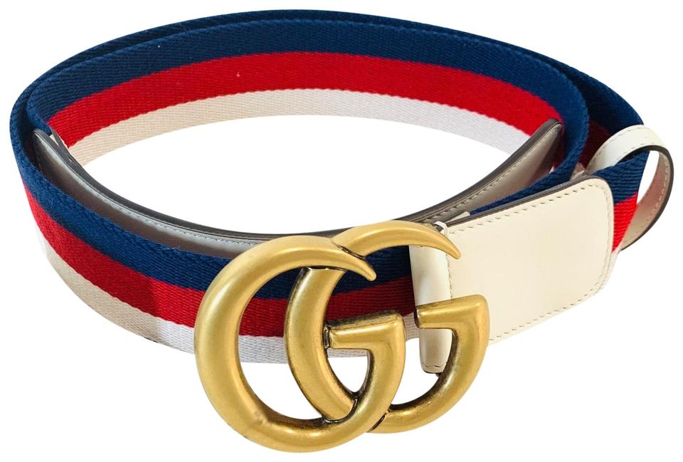 900720acc54 Gucci Blue Red White Sylvie Web with Double G Buckle Belt - Tradesy