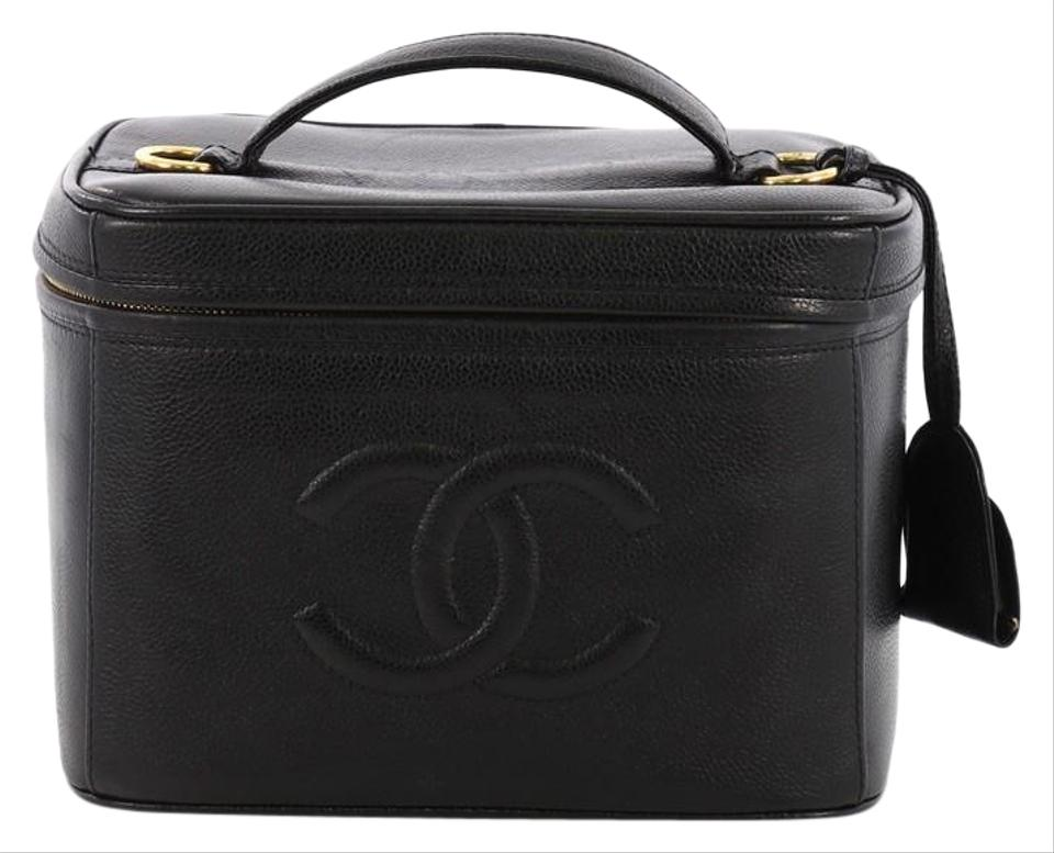 951de9a39436 Chanel Black Vanity Case Vintage Timeless Caviar Small Cosmetic Bag ...