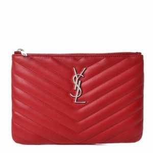 a5270d078c Saint Laurent Monogram Ysl Chevron Zip-top Pouch Red Quilted Leather ...